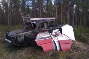 Annorlunda bilinstallation efter väg 880 © Norrbottens museum