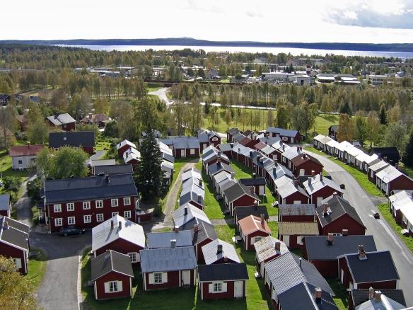 Gammelstads kyrkstad fotograferad från kyrktornet.