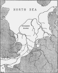 Clement_Reids karta över Doggerland från 1913: Kartan tagen från de Roest 2014