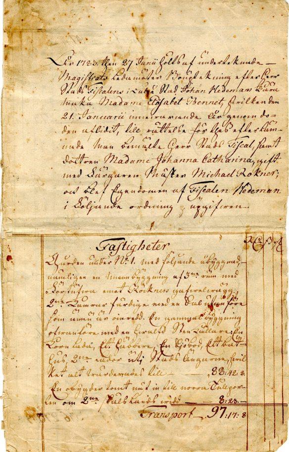 Bouppteckning, Elisabeth Bennet, 1783:  Elisabeth Bennet föddes år 1714 i Leicester, England. Hon var dotter till industrimannen Stephen Bennet som bland annat blev direktör vid Flors linnefabrik i Mo socken i Hälsingland. Elisabeth och hennes äkta man, färgarmästaren Johan Hedeman, slog sig vid 1700-talets mitt ner i Luleå, där de startade såväl familj som affärsrörelse. Dokumentet visar förstasidan av bouppteckningen för Elisabeth Bennet, och listar såväl fastigheter som bohag i form av silver, guld, klädesplagg och böcker. En spännande källa att studera närmare för den nyfikna! I arkivet finns ytterligare bouppteckningar för andra medlemmar ur familjen Röckner. © Norrbottens museum