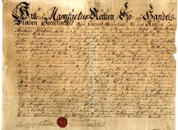 Mästarebrev för Michael Röckner, 1779:  Michael var den första Röckner i ledet, född 1741 och troligtvis inflyttad till Luleå i Johan Hedemans tjänst. Han gifte sig med Hedeman och Bennets dotter Johanna och tog över färgeriet 1790. Rörelsen gick sedan i arv från far till son i flera generationer, fram till 1900-talets början. Både Michael och hans son Johans prydliga recept- och färgprovböcker finns bevarade och vittnar bland annat om den skicklighet och noggrannhet som hantverket krävde. © Norrbottens museum