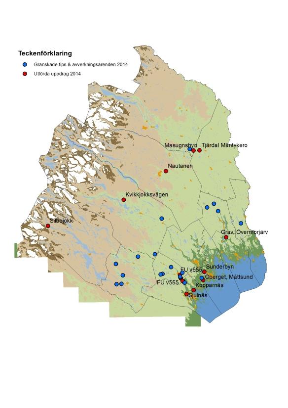 Norrbottens museums utförda arkeologiska uppdrag samt avverkningsanmälningar och tipsgranskningar under 2014 ©Lantmäteriet Medgivande i2014/00695.
