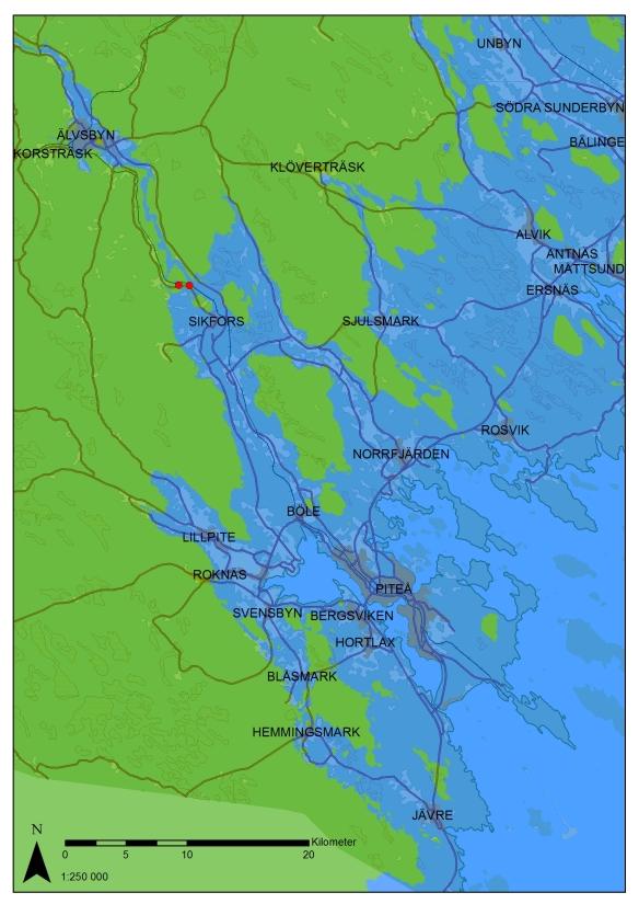 Kartbilden visar hur delar av Norrbottenskusten såg ut när havet stod ca 50 m över dagens nivå, vilket motsvarar tiden omkring 2600 f.Kr. ange ©Lantmäteriet Medgivande i2014/00695