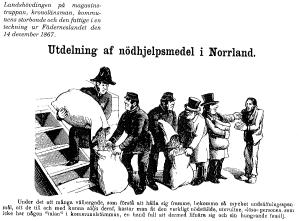 """Teckning från tidningen """"Fäderneslandet"""" som var en hårdhänt och skarp kritiker av myndigheter och politiker vid denna tid. I denna teckning raljerar man över ineffektiviteten i utdelningen av nödhjälp."""