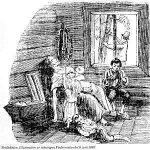 Illustration av svältdöden i Norrlandslänen från tidningen Fäderneslandet 1867.