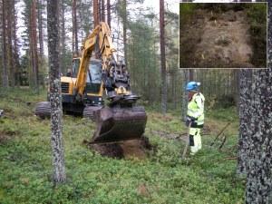 Carina Bennerhag övervakar avtorvningen med grävmaskin. Infälld bild visar ett schakt där skörbränd sten markerats ut med blompinnar. Foto: Frida Palmbo och Carina Bennerhag (infälld bild), Norrbottens museum, CC (by, nc, nd).