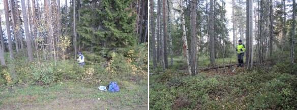 Tor-Henrik Buljo registrerar en husgrund (vänstra bilden) och en tjärdal. Foto: Therése Hällqvist, Norrbottens museum, CC (by, nc, nd)