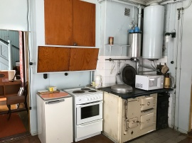 AGA-spisen och delar av det i övrigt välbevarade funkisköket. Foto: Jennie Björklund ©Norrbottens museum