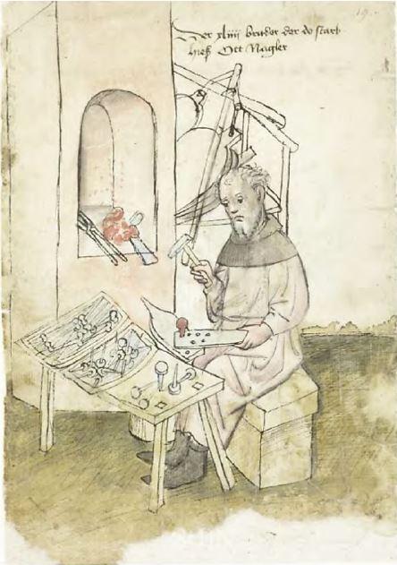 Målning av medeltida spiksmed i arbete