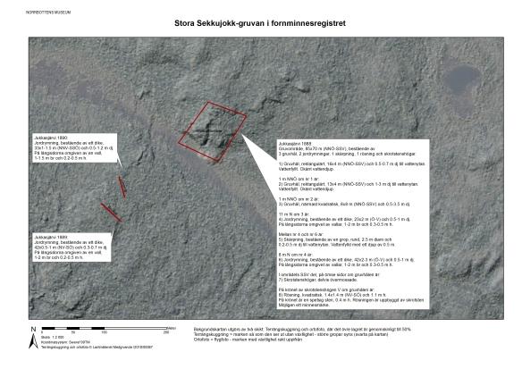 Kartbild med beskrivningar av gruvområde