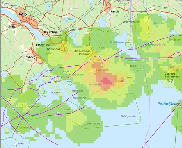 Karta över vrak utanför Båtskärsnäs
