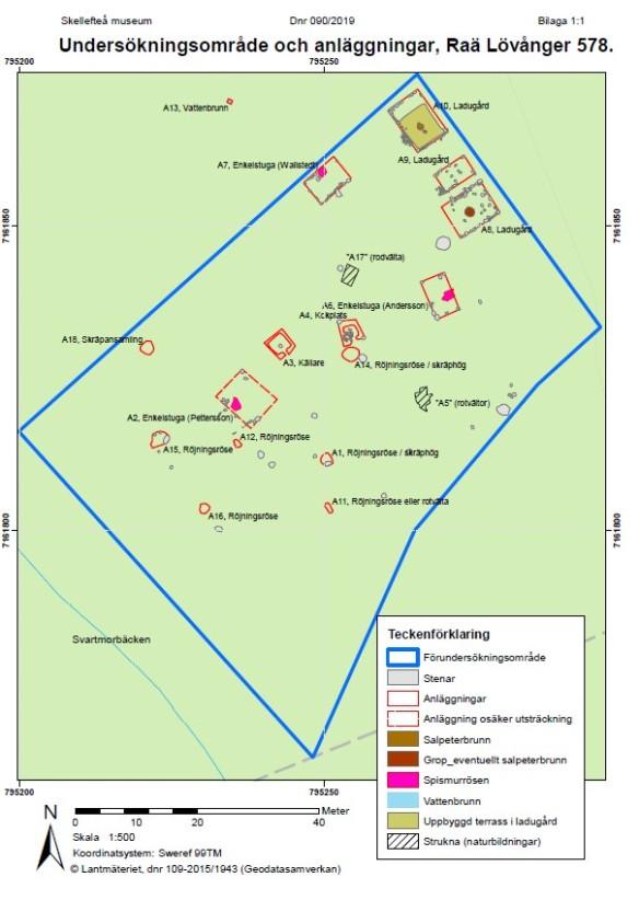 Registrerade anläggningar vid förundersökningen. A8 och A9 är med stor sannolikhet resterna efter en ladugård, inte två. Ur Skellefteå museums rapport.