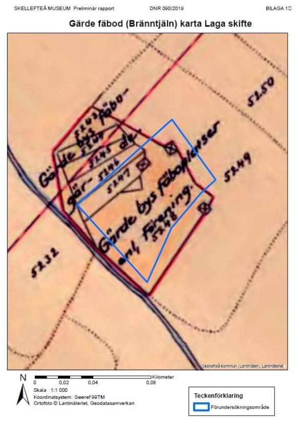 Gärde fäbod på Laga Skifte-karta från 1871 med förundersökningsområdet 2019 markerat med blått. Ur Skellefteå museums arbetsplan.