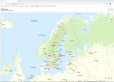 Bild på en kara över de nordiska länderna.