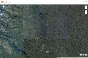 Ortofoto över malmfälten. Gruvområdena (Aitik, Svappavaara och Kiruna) syns som grå fläckar. Skogen är grön, sjöar och vattendrag är svarta och kalfjällen är brungrå med vita snöfläckar.