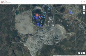 Här syns Svappavaaras gruva med markeringar för forn- och kulturlämningar.
